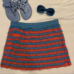 Marc Jacobs Red & Blue Ruffle Tiered Mini Skirt